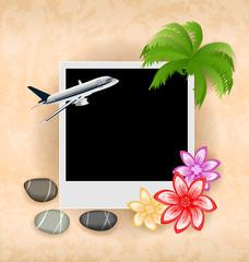 Photo frame with plane, palm, flowers, sea pebbles