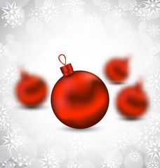 Christmas background with red glass balls and snowflakes