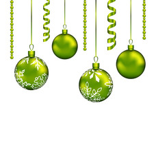 Christmas balls with streamer and copy space for your text