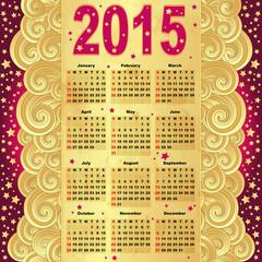 Calendar for 2015