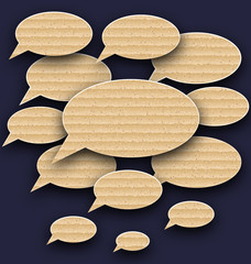 Set speech bubbles made in carton texture