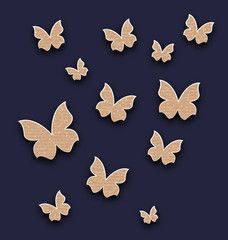 Wallpaper with butterflies made in carton paper