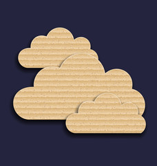 Carton paper clouds isolated on dark background