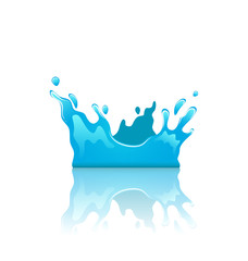 Blue water splash crown with reflection, isolated on white backg