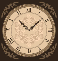 Close-up vintage clock with vignette arrows