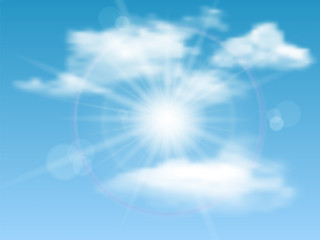 Nature background with sky  sun and clouds. Vector illustration.