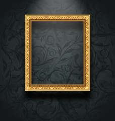 Picture frame on floral texture wall