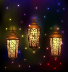 Set Arabic lamps for holy month of muslim community Ramadan Kare