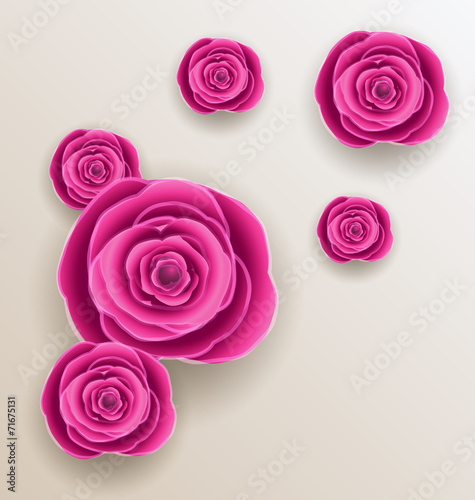 canvas print picture Cutout flowers - beautiful roses, paper craft