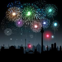 Feuerwerk, Silvester, Berlin, Neujahr, Großfeuerwerk, Firework