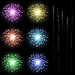 Feuerwerk, Silvester, Neujahr, Set, Vorlage, Design, Firework