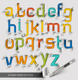 Fototapety Alphabet paper cut colorful font style. Vector illustration.