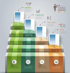 Business staircase doorway conceptual infographics. Vector