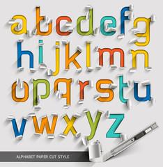 Alphabet paper cut colorful font style. Vector illustration.