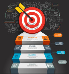 Business staircase conceptual infographics. Target with arrow