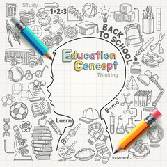 Education concept thinking doodles icons set.