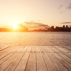 wooden board and Sydney landmarks