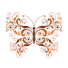 Floral butterfly design element