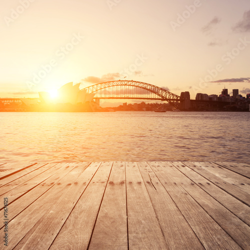 Plakat wooden board and Sydney landmarks