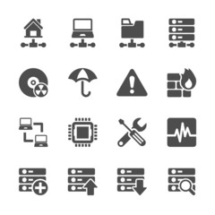 network and server icon set, vector eps10.