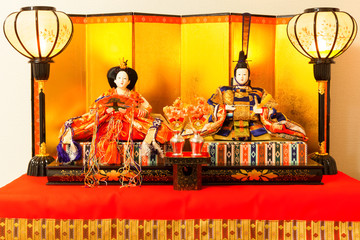 Hina Dolls at the Girls' Festival, peach festival, in Japan