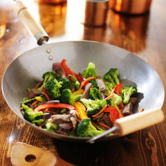 chinese wok with beef and vegetable stir fry