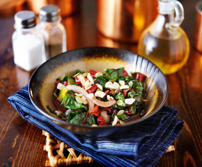 rainbow chard salad in bowl