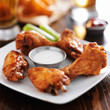 buffalo barbecue hot chicken wings around ranch sauce