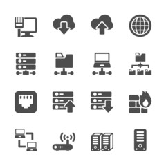 network and server icon set, vector eps10