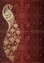 peacock, wedding card design, royal India