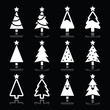 Christmas white tree vector icons set on black