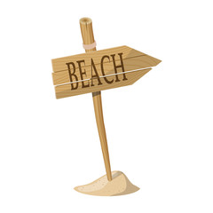 Wooden signpost indicating Beach direction. Vector illustration