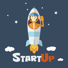 Vector concept of start up new business rocket and astronaut
