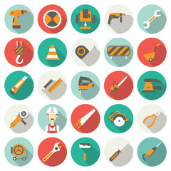 Construction flat icons set. Vector illustration