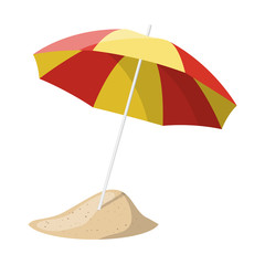 Beach umbrella isolated over white background.