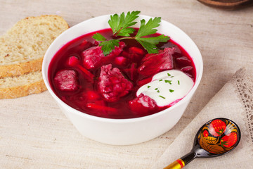 borscht bowl in a still life the Russian style