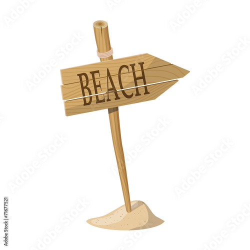 Wooden signpost indicating Beach direction. Vector illustration - 71677521