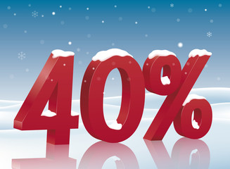 40% discount symbol with snow. Poster to advertise sales