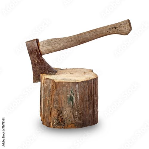 Leinwanddruck Bild Old axe stuck in log