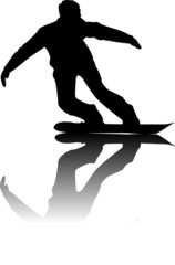 Silhouette of black Snowboarder Vector