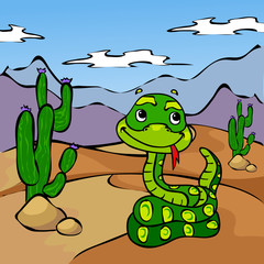 Funny cartoon snake in desert