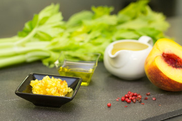 gourmet ingredients forrecipe with celery and peach