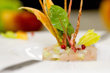tartare with lampuga fish, celery, and food garnish