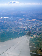 Aerial view from aircraft window.