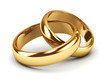 Leinwanddruck Bild - A pair of gold wedding rings