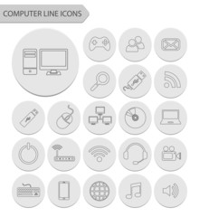 Computer line icons.vector