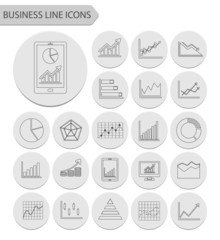 business graph line icons.vector