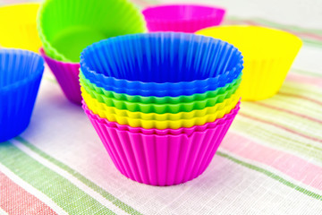 Molds for cupcakes on fabric