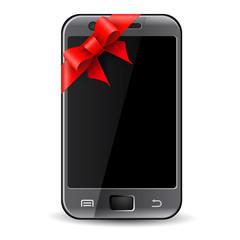 Phone in gift ribbon