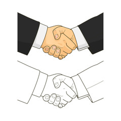 Male handshake. Eps10 vector illustration. Isolated on white